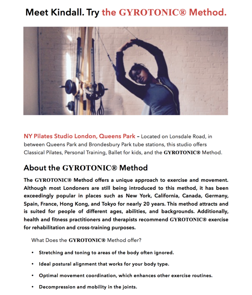 Gyrotonic Press Release