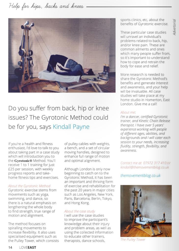 love east press release gyrotonic